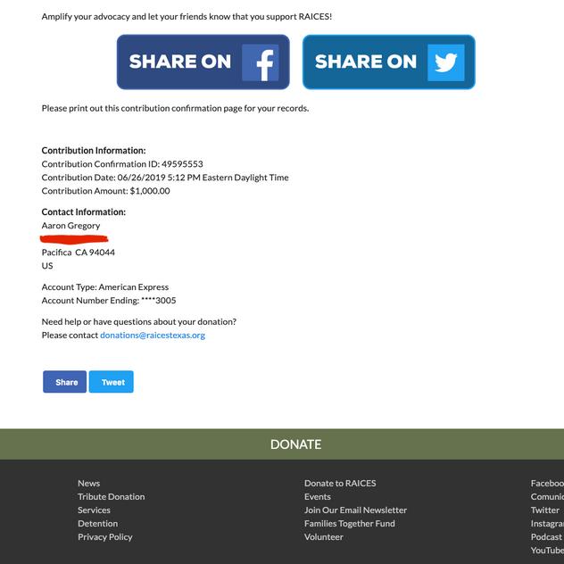 RAICES - June 2019 donation