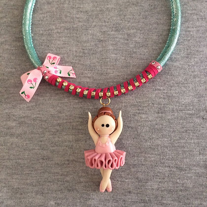 Sweet Ballet Turquoise Necklace (Pink Lace)