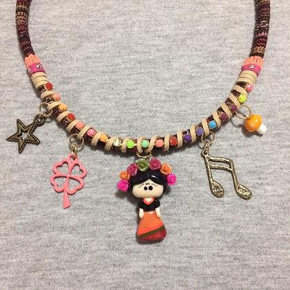 Frida Kahlo Orange Necklace with Pendants