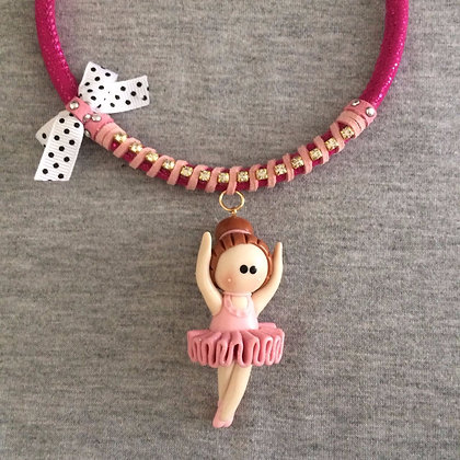 Sweet Ballet Pink Necklace (White & Black Lace)