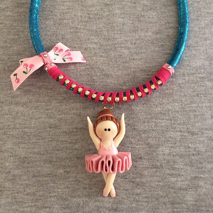 Sweet Ballet Blue Necklace (Pink Lace)