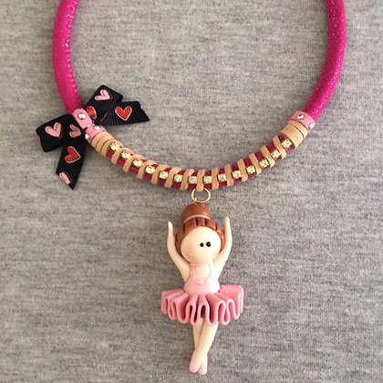 Sweet Ballet Pink Necklace (Black Heart Lace)