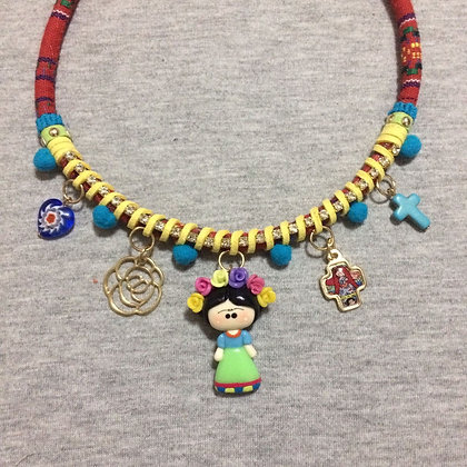 Frida Kahlo Green Necklace with Pendants