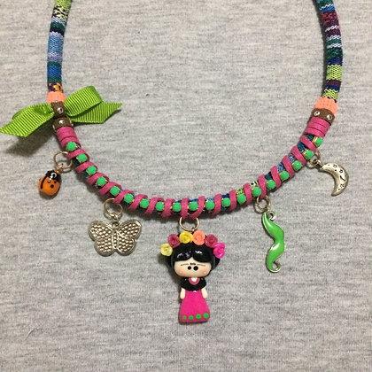 Frida Kahlo Necklace (Green Lace)