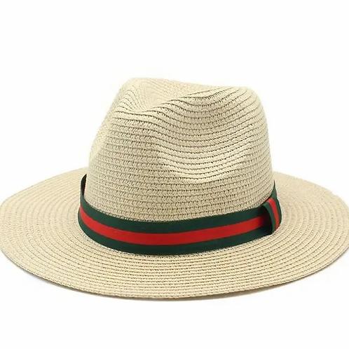 British style Jazz Hat with dark green red strips-beige