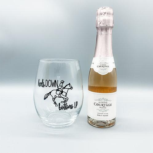 Heels Down Bottoms Up Stemless Wine Glass