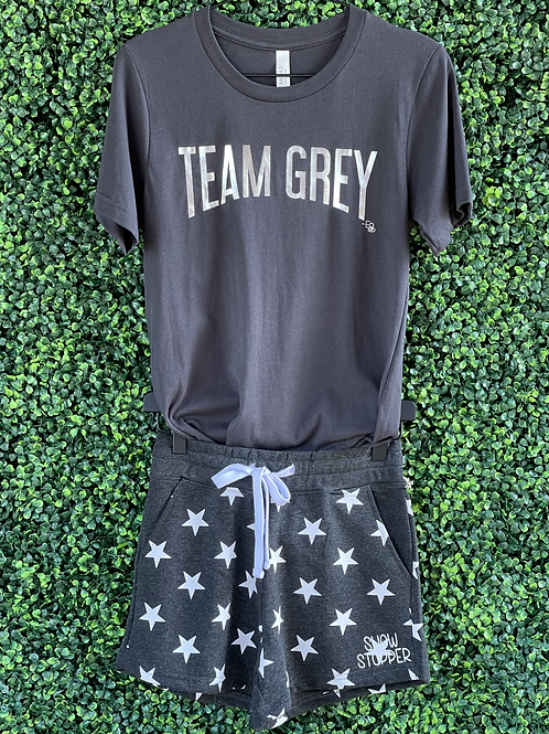 Show Stopper Charcoal Shorts with Stars