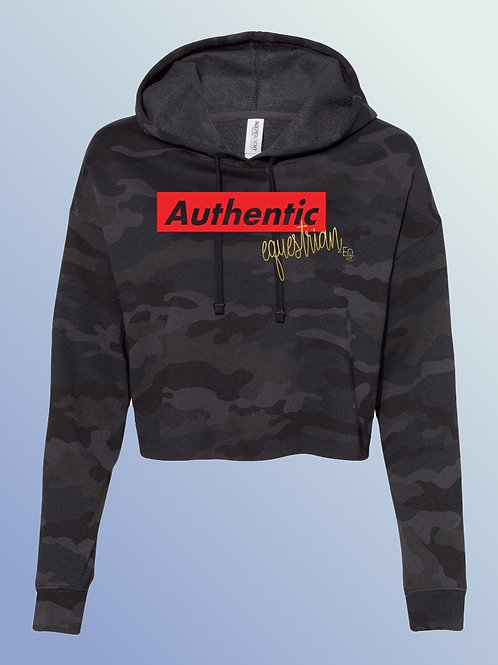 Authentic collection cropped black camo hoodie-multiple disciplines