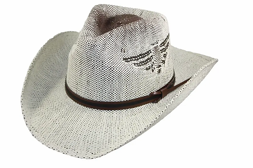 Straw Cowboy Hat with Eagle on side