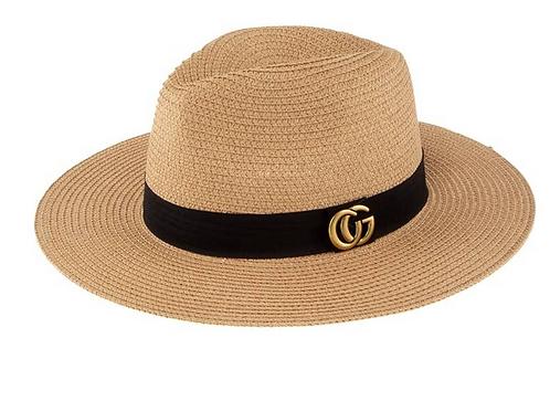CG Metal Fedora Straw Hat-Khaki