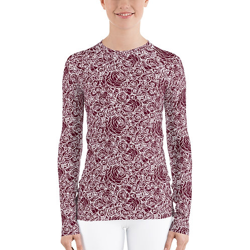 The Aria-Women's maroon roses base layer