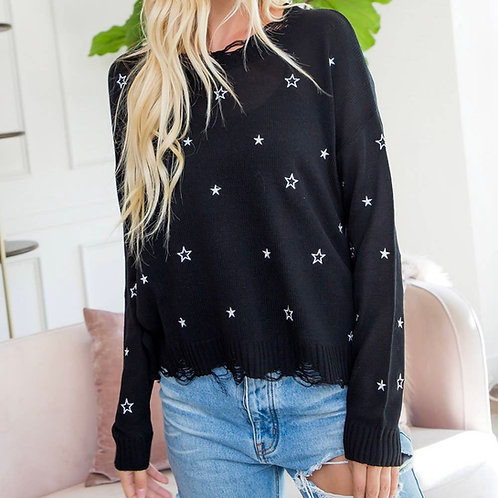 Black Star Embroidered Sweater