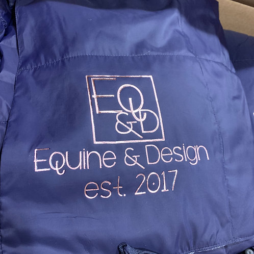 Packable Down Blanket with logo in Navy and Pewter