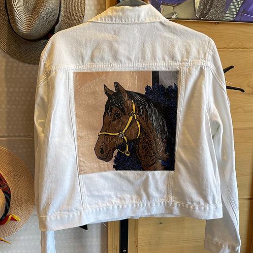 Charlotte White Denim Jacket Size Large