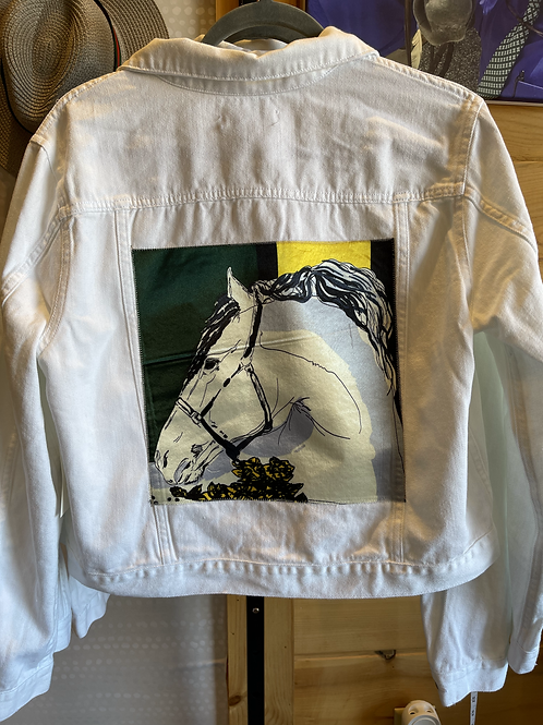 Charlotte White Denim Jacket Size Medium