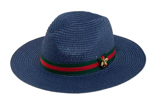 Bee Decorated Green and Red Band Straw Fedora Hat-Blue