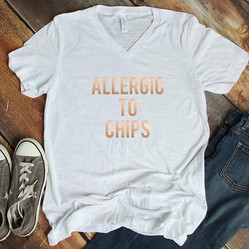 Allergic to Chips v-neck short sleeve shirt