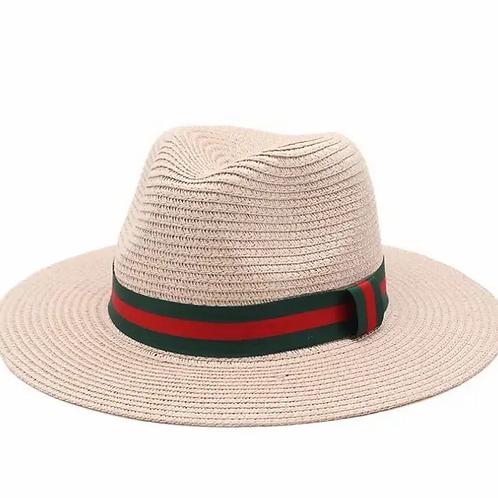 British style Jazz Hat with dark green red strips-pink