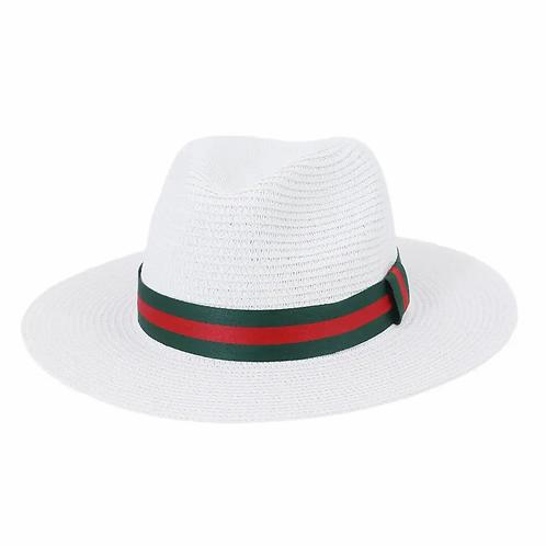 British style Jazz Hat with dark green red strips-white