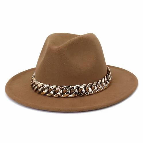 Chain Belt Fedora Big Brim Hat