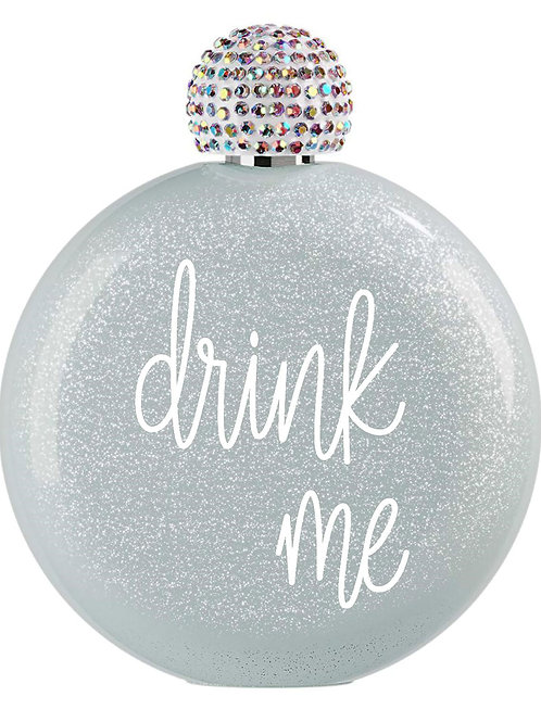 Drink Me Flask with Hand Jeweled Cap