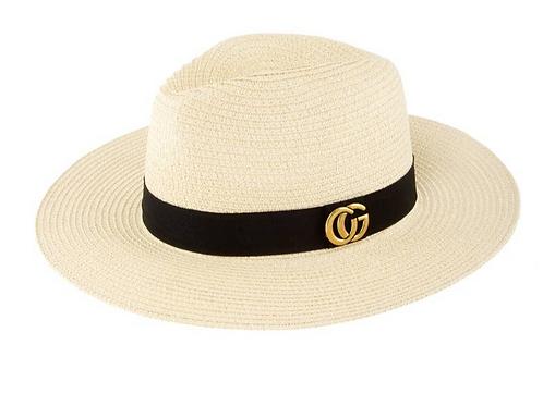 CG Metal Fedora Straw Hat-Beige