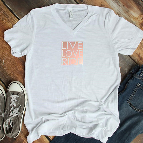 LIVE LOVE RIDE short sleeve v-neck shirt
