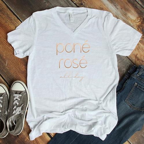 Poné Rosé all day short sleeve v-neck shirt