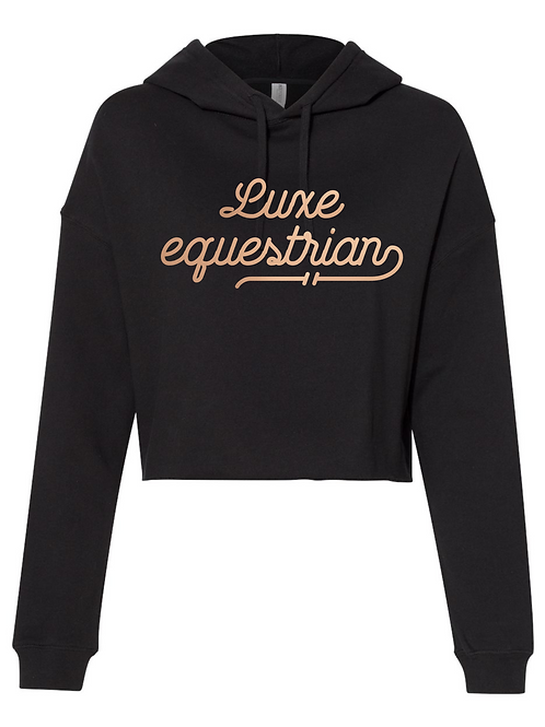 Luxe Equestrian cropped black hoodie