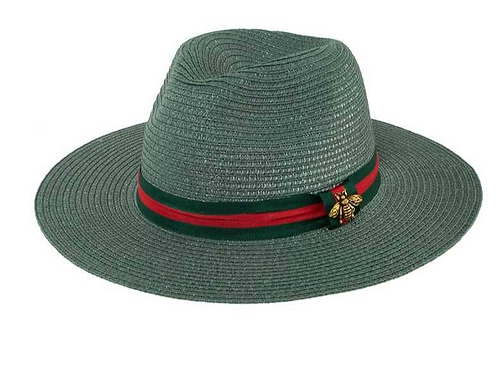Bee Decorated Green and Red Band Straw Fedora Hat-Green