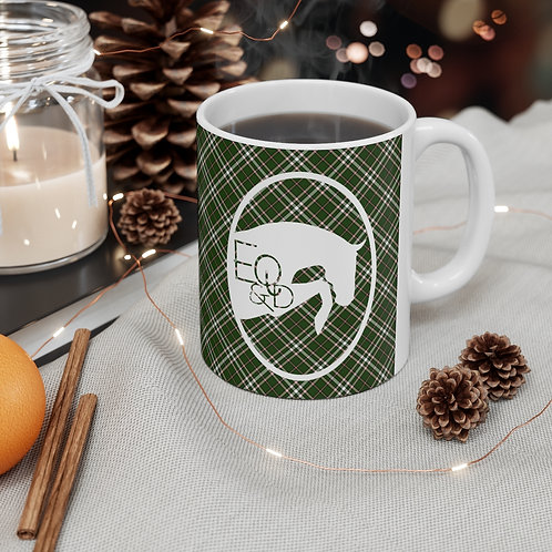 Exclusive Eq & D Tartan ceramic mug with jumping logo  11oz