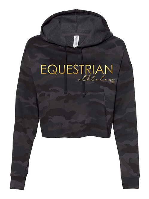 Equestrian athlete cropped black camo hoodie-gold and rose gold available