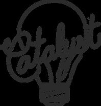 Lightbulb with Catalyst written inside using the lightbulb filaments.