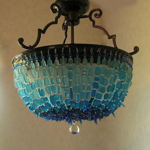 Sea Glass Chandelier Lighting Blue Ombre Coastal Decor Glass Ceiling Fixture