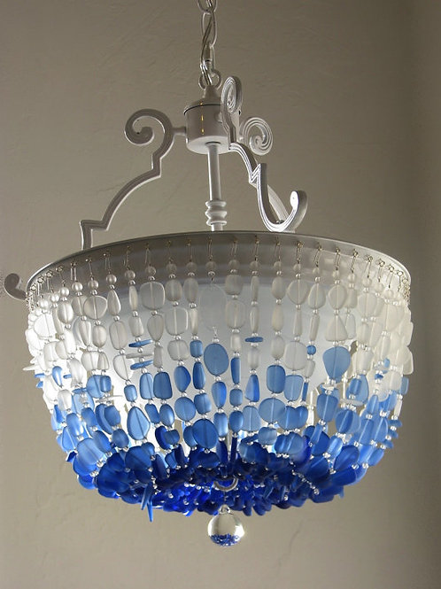 Sea Glass Chandelier Lighting FLUSH MOUNT Ceiling light Fixture Coastal Decor