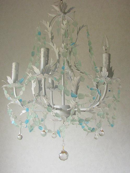 Sea Glass Chandelier Lighting White Wrought Iron Beach Glass Lighting Fixture