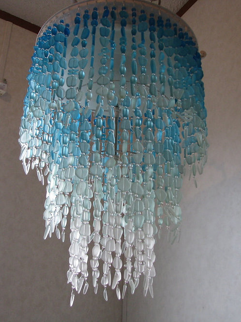 Sea Glass Chandelier Lighting Fixture Flush Mount Ceiling Fixture Coastal Decor
