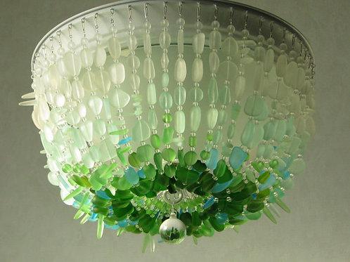 Sea Glass Chandelier Ombre FLUSH MOUNT Coastal Decor Beach Glass Ceiling Fixture