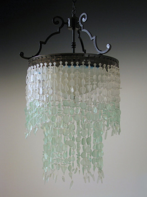 sea glass chandelier. Sea Glass Chandelier Tier WATERFALL Fixture Coastal Decor * The Depoe Bay* Ombre T
