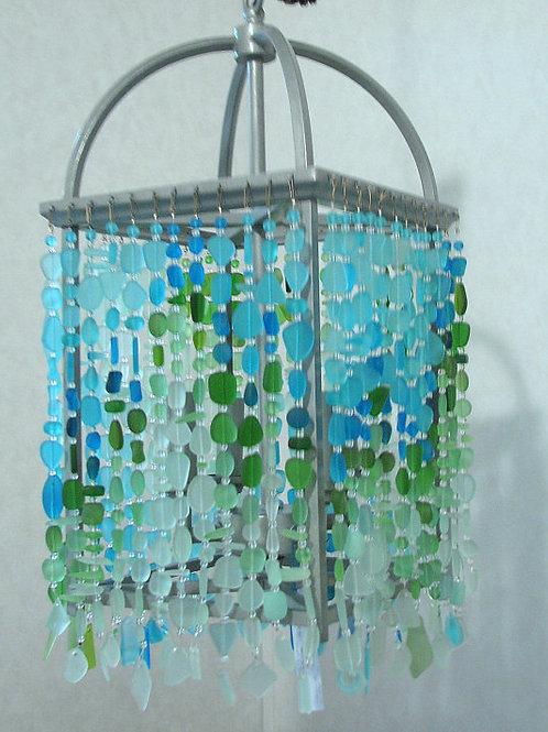 Sea Glass Chandelier Ceiling Fixture Foyer Light Coastal Beach Glass Fixture