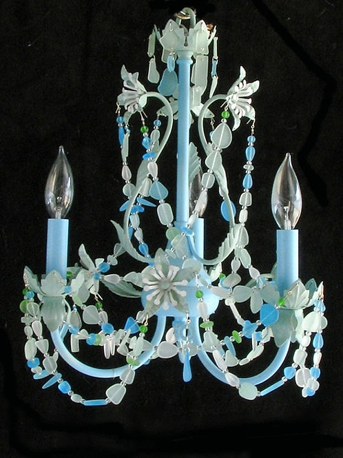 Sea Glass Lighting Fixture Chandelier Beach Cottage Chic Coastal Decor Lighting