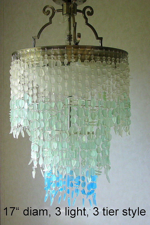 Sea Glass Chandelier Lighting Fixture Coastal Decor Blue Ombre Beach Glass