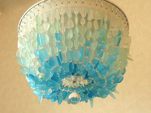 Sea Glass Chandelier Lighting Fixture FLUSH MOUNT Coastal Decor Beach Glass