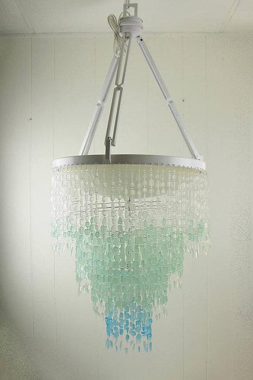 Sea Glass Chandelier Lighting Ceiling Fixture Beach Glass Coastal Decor