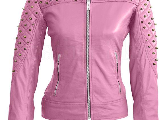 Women Pink Skeleton Studs Leather Jacket