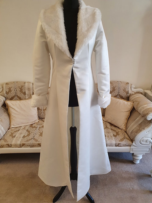 Long Ivory Winter Bridal Coat