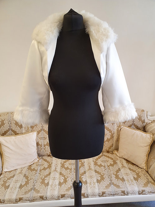 Faux Fur Collar & Cuffs Ivory Jacket