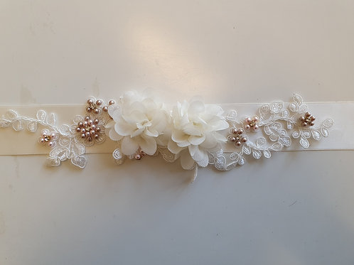Flower & Pearl Belt On Ivory Ribbon