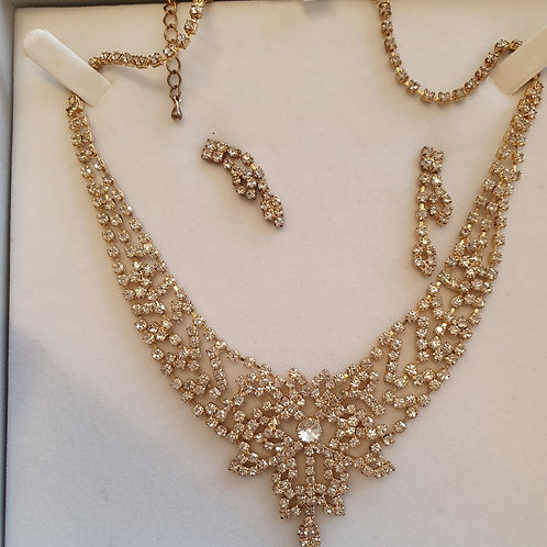 Gold Finish Necklace & Earring Set