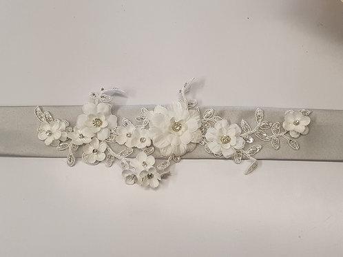 Light Grey Lace Floral Bridal Belt